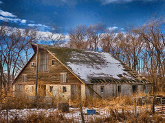 Barn at Sunset (Rocket Scientist Number 1) Tags: barn shed snow weeds weed fence trees tree sky blue clouds sunset evening aline abandoned vacant