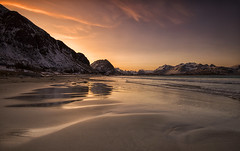 Ramberg Sunrise (Tracey Whitefoot) Tags: 2018 january winter tracey whitefoot lofoten lofotens islands flakstad flakstadoya ramberg beach sunrise low tide warm light reflections reflection snow sand norway