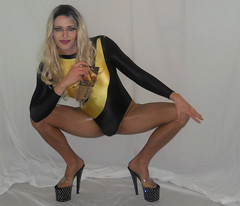 Trying to act cool lol (queen.catch) Tags: catchqueenyoutube drag tranny heels pleasers nylons pantyhose hosiery sissy femboy feminization makeup wig leotard lycra