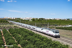 Talgo (ɢ. ʙᴇʀᴇɴɢᴜᴇʀ [ ō-]) Tags: 252 252069 talgo renfe railway railroad locomotive train benifaió naranjos verde