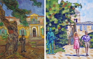 Trees in the  Garden of Saint Paul Hospital by Van Gogh 1889 and with Statue by Anthony D. Padgett 2017