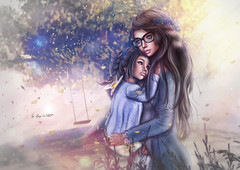 Hugs and Kisses (♣ ♢ ♠ ♡ chopay ♣ ♢ ♠ ♡) Tags: mummy mom child kid sweet tree forest light swing hug kiss lovely