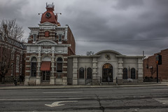 McLeansboro, IL 01 (Christopher Elliot Taylor) Tags: 552 bank building architecture places travel tourism oldbuilding town downtown townsquare canont1i affinityphoto hdr tonemapped street cloudy clock