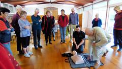 Herne Bay, Auckland, New Zealand (Sandy Austin) Tags: panasoniclumixdmcfz70 sandyaustin auckland hernebay hernebaypetanqueclub clubhouse training firstaid defibrilator northisland newzealand
