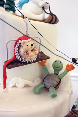 Ski Slope Creatures Figurines Cake