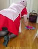 Red Overall & Long Check Tabard 05 (Maid Janet) Tags: overall tabard rubbergloves maid housemaid putzfrau cleaning cleaner housework housekeeping tranny crossdresser crossdressing sissymaid housewife domestic stockings kitchen