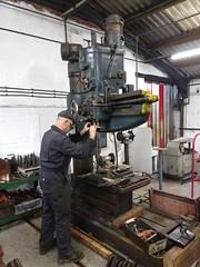 Drilling Brake Blocks (Tanllan) Tags: wllr welshpool llanfair light railway wales heritage tourist railroad steam train brake blocks radial arm drilling machine drill