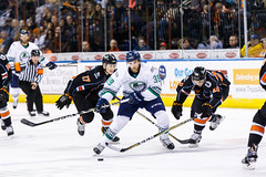 "Kansas City Mavericks vs. Florida Everblades, February 18, 2018, Silverstein Eye Centers Arena, Independence, Missouri.  Photo: © John Howe / Howe Creative Photography, all rights reserved 2018 • <a style=""font-size:0.8em;"" href=""http://www.flickr.com/photos/134016632@N02/39491133955/"" target=""_blank"">View on Flickr</a>"