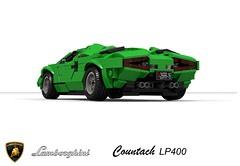 Lamborghini Countach LP400 (1974) (lego911) Tags: lamborghini countach lp400 1974 coupe supercar 1970s classic bertone scissor v12 italy italian auto car moc model miniland lego lego911 ldd render cad povray marcello gandini white whale