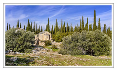 The small church of Taxiarches, in the homonymous hill of Hymettus - Η μικρή εκκλησία των Ταξιαρχών, στον ομώνυμο λόφο του Υμηττού (MάNoS) Tags: cypress tree sky landscape church chapel saariysqualitypictures nikon d50 cypresses