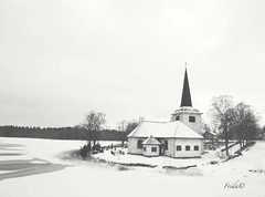 Church in Lungsund - Sweden (The world in f stops) Tags: church winter ice lake frozen landscape nature architecture building wood white monochrome sweden varmland