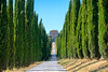 Amelia (Umbria, Italy): Villa Aspreta (clodio61) Tags: amelia europe italy terni umbria villaaspreta ancient architecture building color cypress day exterior historic house landmark monument old outdoor park path photography plant road row tree