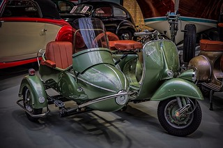 """The legendary classic motor scooter """"Vespa"""" with sidecar"""