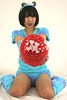 Cutie From The Blue Lagoon (emotiroi auranaut) Tags: cute pretty attractive lady woman girl vaentinesday hearts heart toy balloon squeak red fuzzy furry costume beauty beautiful