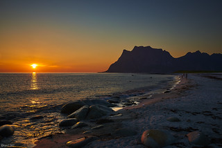 Midnight sun - Utakleiv Beach