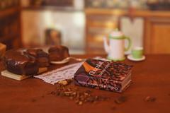 Chocolat by by Joanne Harris (GreenEyes87)) Tags: polymerclay polymerclaycake cake miniaturebook book miniature dollhouse miniatures miniaturebooks library doll literarygift dollhouseminiature minibook chocolate coffee chocolat joanneharris chocolatbookseries chocolatseries chocolateshop chocoholic