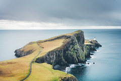 Neist Point Lighthouse (Matthieu Robinet) Tags: a72 alpha folk glen highlands landscape loch outdoor outlander roadtrip scotland somewhere sonya7ii travel uk wanderlust winter winterscape lighthouse deep depth throughtheocean anotherescape space away horizon dark storm weather cliffs cloudy winterday pod path green nature powerful exploring discover wilderness alone lonely