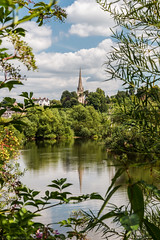 St Mary's, Ross-on-Wye (The Frustrated Photog (Anthony) ADPphotography) Tags: category england herefordshire landscape places travel wilton rossonwye church river water sky clouds bluesky landscapephotography travelphotography greatbritain uk unitedkingdom reflections reflection greenery framing frame town countryside trees canon canon70d canon1585mm leaves outdoor tree grass
