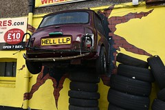 You drive me up the wall. (Loco Steve) Tags: mini advertising tyres surbiton surrey humour southlondon