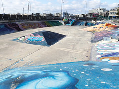 sk8-park in Valletta (Notquiteahuman1) Tags: skate color colorfull skating obstacle youth youthculture blue graffiti graffitiart vaccation tourist outdoor fujifinepixs4800 malta valletta sports midday sun old