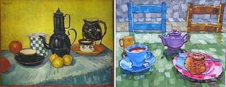 Still Life Blue Enamel Coffee pot, Earthenware and Fruit by Van Gogh 1888 and Anthony D. Padgett 2017