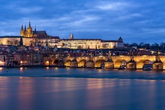 Prague Waters (JH Images.co.uk) Tags: prague night clouds charles bridge charlesbridge hdr dri art architecture reflection twilight castle praguecastle czech lesertown lesser