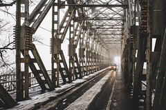 316/365 (halagabor) Tags: bridge lines line pillar pillars industrial budapest hungary winter snow snowy fog mist misty foggy car carlamp carlight lights light lamp lamps kbridge nikon nikkor vintagelens manualfocus d610 365 365project urban city citylife concrete road way path pathway perspective 24mm 2017 iron steel rust rusty dirt dirty old decay derelict grey
