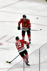 Face of the team (Robby Gragg) Tags: chicago blackhawks nhl hockey warm ups jonathan toews patrick kane united center