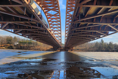Bridge Superstructure above the Mohawk River (hank278) Tags: bridges mohawkriver ice highdynamicrange hdr photoaday pad reflection