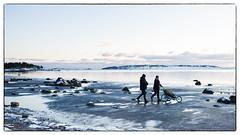 Walking / Sunday Afternoon Stroll (Eline Lyng) Tags: seascape nature landscape isle norway sunset water sea coastline larkollen beach leica leicasl sl summilux35mmasphflef14 leicalens manualfocus people