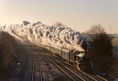 5043 Passes Elford  Near Tamworth aprox 0910 13 12 2014 (johndungate) Tags: preservedsteam mainline steam tamworth elford earlofmountedgecome steamrailways uksteam britishrailwayspreservation