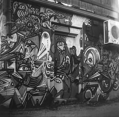Eye See You (Georgie_grrl) Tags: browniehawkeye 120film mediumformat squareformat itshiptobesquare blackandwhite monochrome graffiti tagging streetart toronto ontario