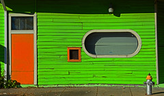 Orange, White, Green (davidwilliamreed) Tags: colorful door windows fire plug