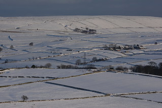 Snow-Clad Landscape, Peak District National Park, Derbyshire, England.