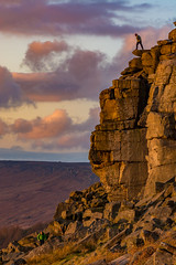 Don't look down... (Peter Quinn1) Tags: stanageedge sunset derbyshire dontlookdown climbing climber adventure