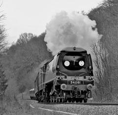 34081 Battle of Britain class 92 Squadron (andrewfarmer1) Tags: severnvalleyrailway severnvalley railway steam steamengine steamrailway locomotive 34081 train trains blackandwhite spring 2017