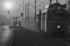 Tram No.7 (vladobgd) Tags: tram black mono sky sunset belgrade seven street ulica 7 beograd novi new jurijagagarina tramvaj vladobgd tranvía трамвай семь закат белград солнце sun