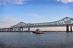 Crescent City Connection (skipmoore) Tags: nola neworleans mississippiriver crescentcityconnection bridge tugboat