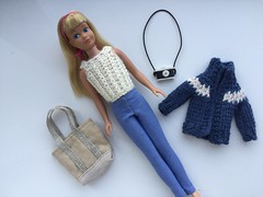 3. Little Tourist (Foxy Belle) Tags: doll vintage skipper tourist boston travel handmade outfit knit