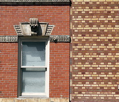Lines Drawn:  Brickwork, Christopher Street, Greenwich Village, New York (Spencer Means) Tags: architecture building house apartment brickwork stonework stone carving carved frame window wall greenwichvillage newyork city nyc ny urban neighborhood christopher street manhattan dwwg