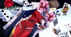 Queen of Clubs (Alexandra Nevermind (devereaubeauregard)) Tags: disorderly remnant sl secondlife slblog slfashion red white black cards suit queen avi avatar virtualworld blush zibska bauhausmovement sanarae ni cureless exile