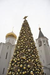 IMG_0023 (Mike Pechyonkin) Tags: 2018 moscow москва new year tree fir новогодняя ёлка church церковь bell tower колокольня cupola купол vivitar12528 ball шар колокол star звезда