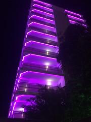 Nightime in Benidorm. (Bennydorm) Tags: vacation holidays resort january iphone5s europe espana spain valencia benidorm high tall street hotel nightime bright lilac colourful lighting lights