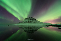 Kirkjufell Aurora Reflection (Rouz 29) Tags: iceland islande snaefellsnes grundarfjörður kirkjufell mountain montagne mount aurora aurore borealis boreale light lumière reflection reflet reflexion green vert wow impressive impressionnant kp geomagnetic geomagnetique sea mer nikon nikkor sirui erwanleroux seascape landscape paysage snowcapped neige snow enneigé winter hiver night nuit nightscape beauty beauté naturel natural nature cosmic northernlights northern color couleur colorful coloré strong forte famous