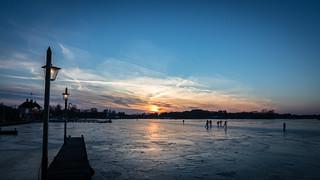 Sunset over Fronzen Lake