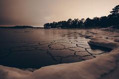 The Rafts (Bunaro) Tags: uutela vuosaari aurinkolahti helsinki finland suomi myhelsinki visitfinland nature landscape winter ice sea water snow rafts fragile night seacape darkness