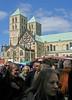 Wochenmarkt auf dem Domplatz in Münster (Wolfgang Bazer) Tags: münster stpaulusdom domplatz münsterland nordrheinwestfalen deutschland germany