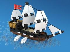 Micro Pirate Ship (thejiral) Tags: ship micro moc lego pirates