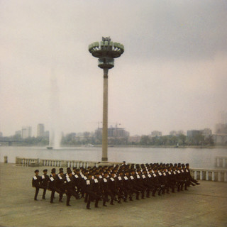 Polaroid of a North Korean military parade in front of Taedong river, Pyongan Province, Pyongyang, North Korea