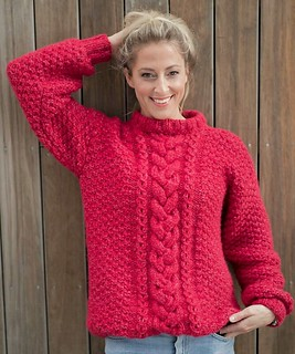 Women in hot red sexy cable wool genser